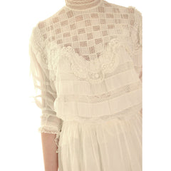 Victorian White Lawn  Lace Fancy Ladies Summer/Wedding  Dress 34-20-Free - The Best Vintage Clothing  - 6