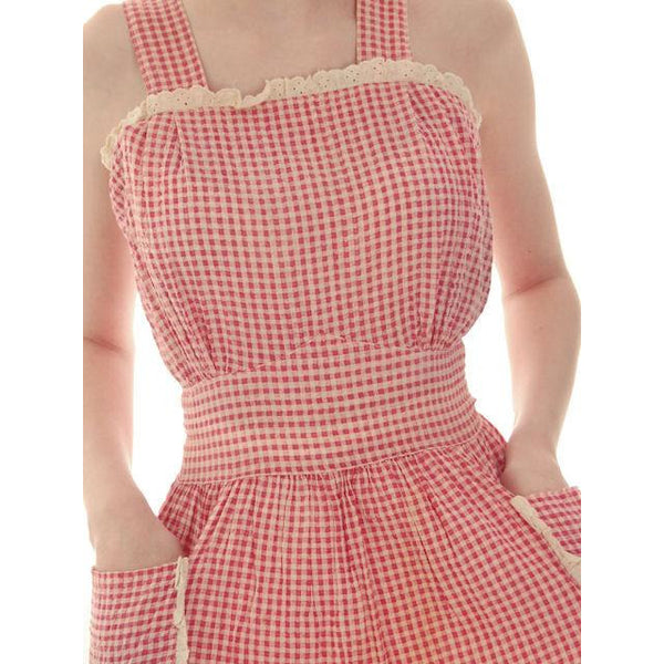 Vintage Pinafore Dress Red Gingham Back Button Oh So Cute 1940s 34-26-Free - The Best Vintage Clothing  - 5