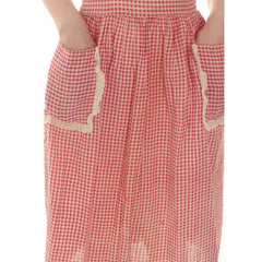 Vintage Pinafore Dress Red Gingham Back Button Oh So Cute 1940s 34-26-Free - The Best Vintage Clothing  - 6