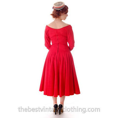 Vintage Party Dress Red Faille Super Fitted Waist Full Skirt 1940s Small - The Best Vintage Clothing  - 11