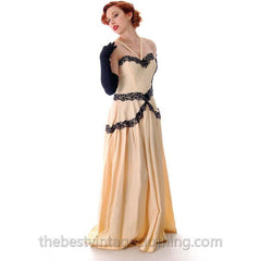 Vintage Dansant Evening Gown Ivory Fallie Black Embellished Lave Trim 1940s 33-25-Free - The Best Vintage Clothing  - 2