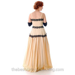 Vintage Dansant Evening Gown Ivory Fallie Black Embellished Lave Trim 1940s 33-25-Free - The Best Vintage Clothing  - 5