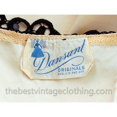 Vintage Dansant Evening Gown Ivory Fallie Black Embellished Lave Trim 1940s 33-25-Free - The Best Vintage Clothing  - 8