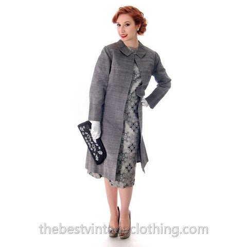 Vintage Dress And Silk Coat Silver Metallic Damask Fitted Sheath Dress 1960s Small - The Best Vintage Clothing  - 1