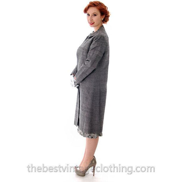 Vintage Dress And Silk Coat Silver Metallic Damask Fitted Sheath Dress 1960s Small - The Best Vintage Clothing  - 3