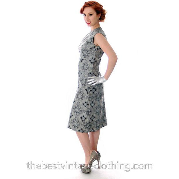 Vintage Dress And Silk Coat Silver Metallic Damask Fitted Sheath Dress 1960s Small - The Best Vintage Clothing  - 7