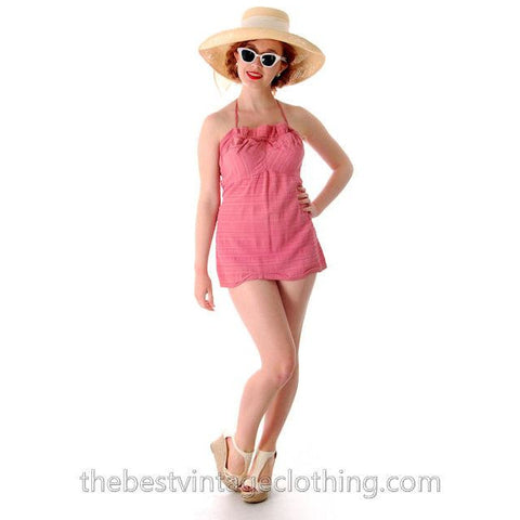 Vintage One Piece Swim Suit Bathing Suit Rose 1940s 34 Bust