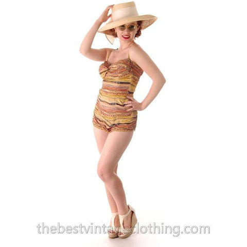 Vintage Bathing Suit One Piece Catalina Printed Cotton Bubble Butt 1950s 36 Bust - The Best Vintage Clothing  - 1
