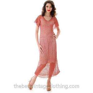 Vintage Dusty Rose Pink Crochet Day or Tea Dress 1930s Small - The Best Vintage Clothing  - 1