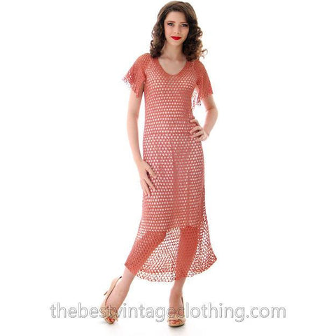 Vintage Dusty Rose Pink Crochet Day or Tea Dress 1930s Small