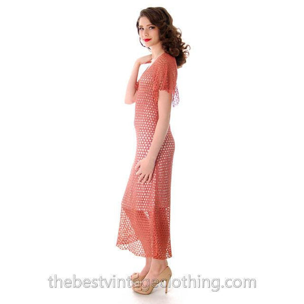 Vintage Dusty Rose Pink Crochet Day or Tea Dress 1930s Small - The Best Vintage Clothing  - 2