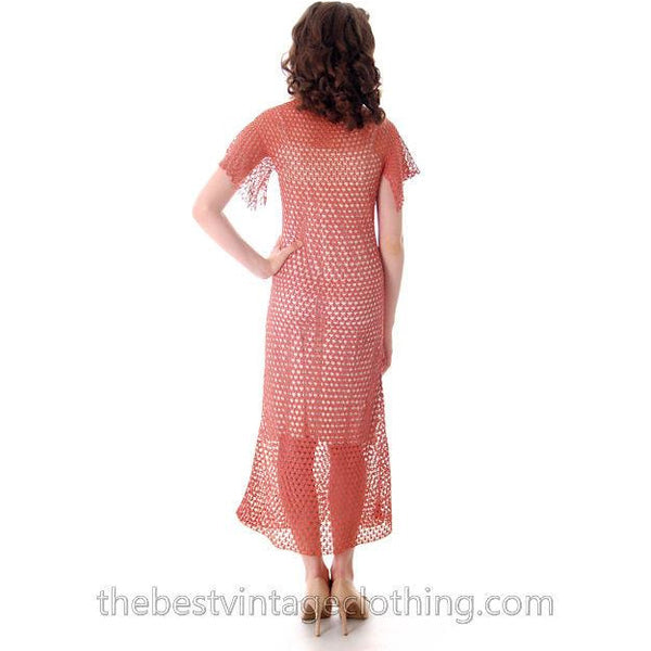 Vintage Dusty Rose Pink Crochet Day or Tea Dress 1930s Small - The Best Vintage Clothing  - 3