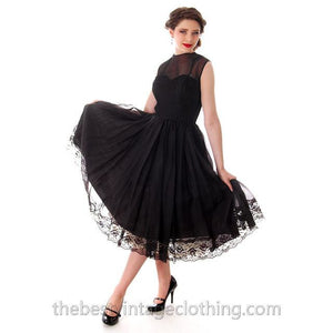 Vintage Dance Time by Phyllis Dress Black Sheer Full Skirt 1950s 31-24-FREE Small - The Best Vintage Clothing  - 1