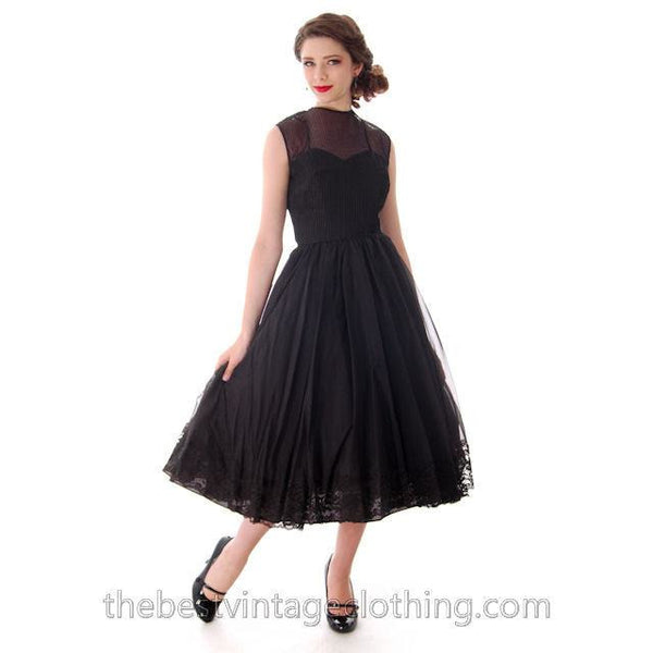 Vintage Dance Time by Phyllis Dress Black Sheer Full Skirt 1950s 31-24-FREE Small - The Best Vintage Clothing  - 3