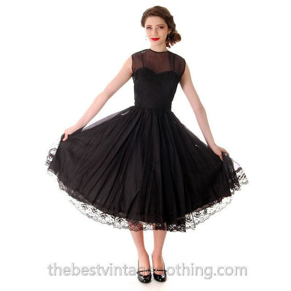 Vintage Dance Time by Phyllis Dress Black Sheer Full Skirt 1950s 31-24-FREE Small - The Best Vintage Clothing  - 2
