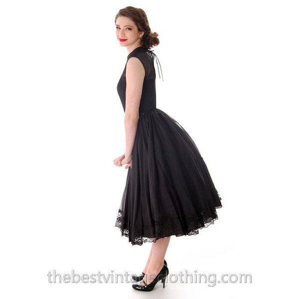 Vintage Dance Time by Phyllis Dress Black Sheer Full Skirt 1950s 31-24-FREE Small - The Best Vintage Clothing  - 4