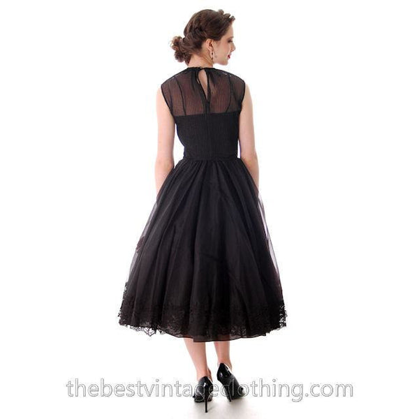 Vintage Dance Time by Phyllis Dress Black Sheer Full Skirt 1950s 31-24-FREE Small - The Best Vintage Clothing  - 5