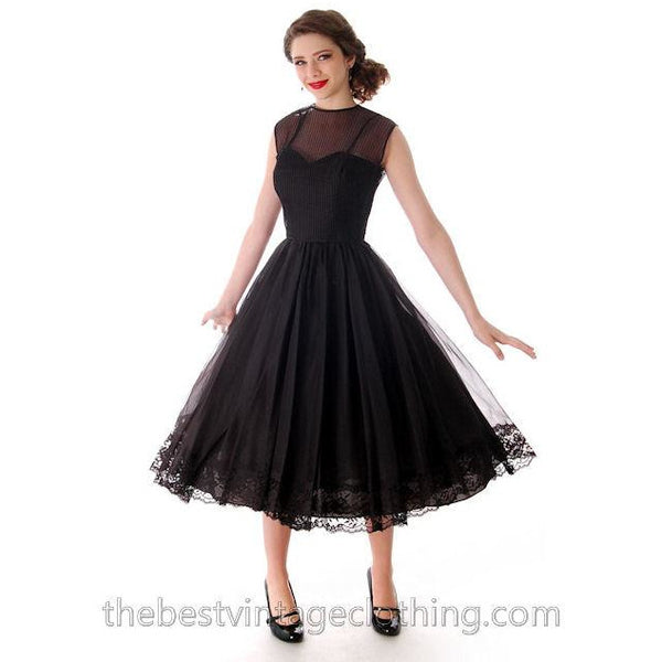 Vintage Dance Time by Phyllis Dress Black Sheer Full Skirt 1950s 31-24-FREE Small - The Best Vintage Clothing  - 6