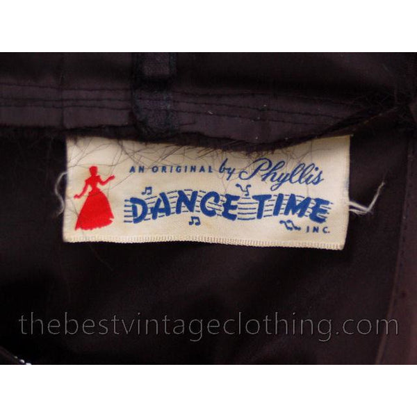 Vintage Dance Time by Phyllis Dress Black Sheer Full Skirt 1950s 31-24-FREE Small - The Best Vintage Clothing  - 8