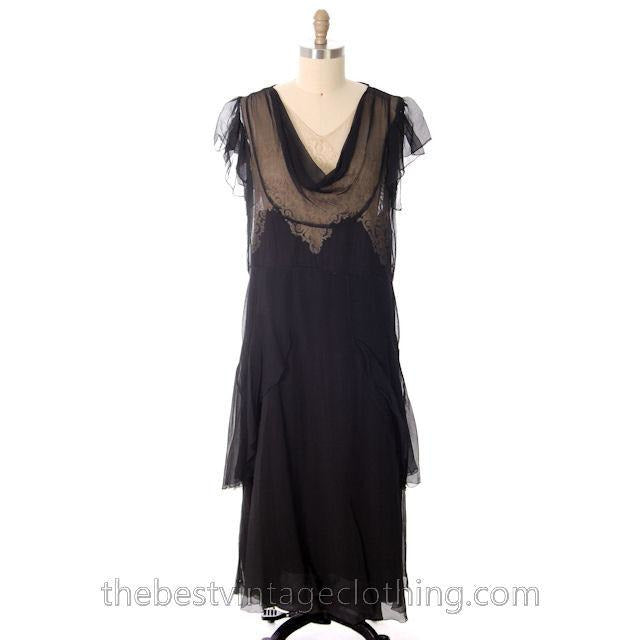 Vintage Gown 1920s Black Silk Chiffon Dress Butterfly Sleeves Lace ...