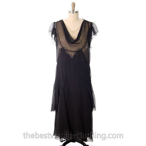 Vintage Gown 1920s Black Silk Chiffon Dress Butterfly Sleeves Lace Inner Bodice 40-38-40 - The Best Vintage Clothing  - 1