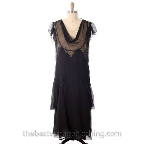 Vintage Gown 1920s Black Silk Chiffon Dress Butterfly Sleeves Lace Inner Bodice 40-38-40