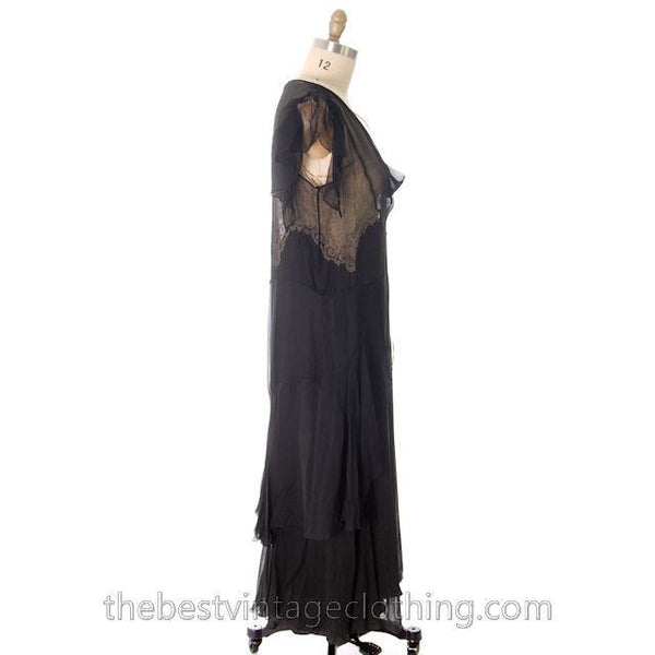 Vintage Gown 1920s Black Silk Chiffon Dress Butterfly Sleeves Lace Inner Bodice 40-38-40 - The Best Vintage Clothing  - 3
