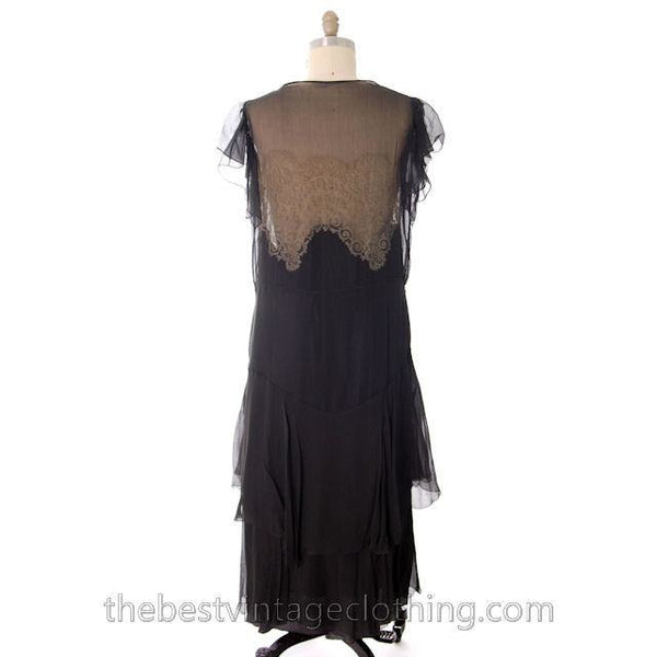 Vintage Gown 1920s Black Silk Chiffon Dress Butterfly Sleeves Lace Inner Bodice 40-38-40 - The Best Vintage Clothing  - 2