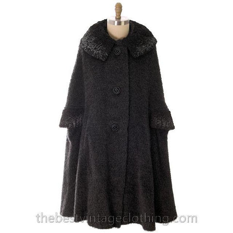 Vintage Swing Cape Coat Charcoal Mohair Persian Lamb  Trim 1940s Berroco One Size