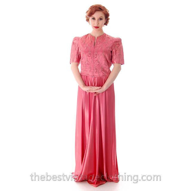 Vintage Evening Gown Pink Satin Metallic Soutcahe  Jacket 1940s 36-29-48 M - The Best Vintage Clothing  - 1
