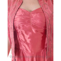 Vintage Evening Gown Pink Satin Metallic Soutcahe  Jacket 1940s 36-29-48 M - The Best Vintage Clothing  - 7