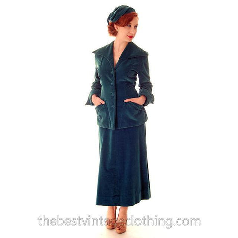 Vintage Teal Velvet Ladies 1950s Suit Plus Matching Hat 36-26-37