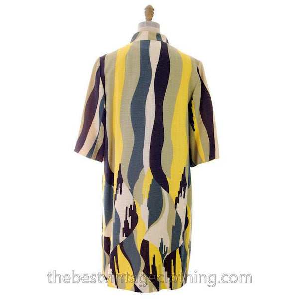 Vintage Linen  Yellow Sheath Dress & Abstract Printed Coat Edith Flagg 1970s 36-31-36 - The Best Vintage Clothing  - 3