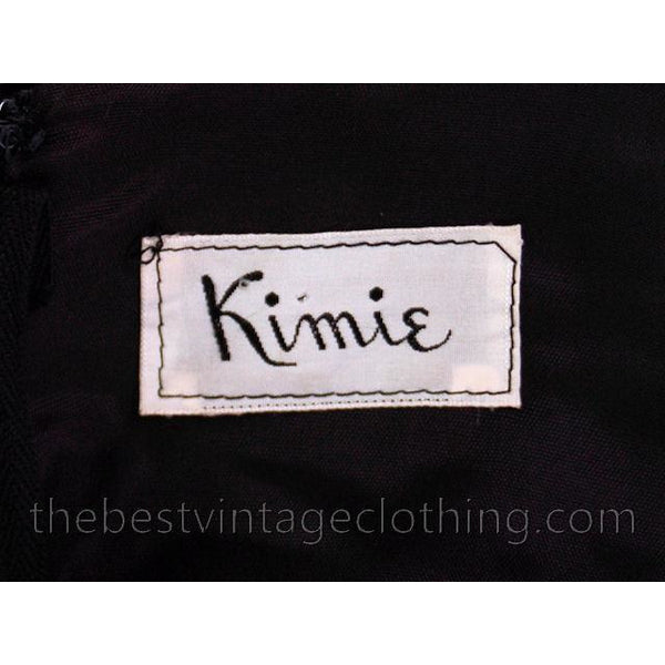 Vintage Black Silk Velvet Party Dress 1950s Kimie Gorgeous Applique 36-30-38 - The Best Vintage Clothing  - 6