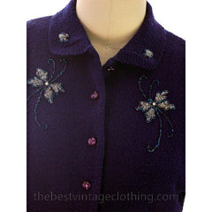 Vintage Wool Sweater Suit Gloria Knitwear Royal Blue Beaded 1950s S-M - The Best Vintage Clothing  - 5