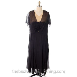 Vintage 1920s Flapper Dress Black Silk Chiffon Larger Size 42-40-42 - The Best Vintage Clothing  - 1