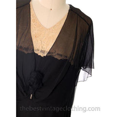 Vintage 1920s Flapper Dress Black Silk Chiffon Larger Size 42-40-42 - The Best Vintage Clothing  - 4
