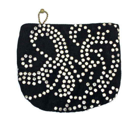 1930s Petite Purse Womens Evening Rhinestone Dance Strap Black