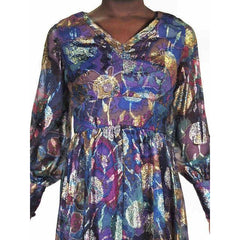 Vintage Metallic Silk Chiffon Designer Gown Hartley Westwood 1970S 34-30-36 1970s - The Best Vintage Clothing  - 4