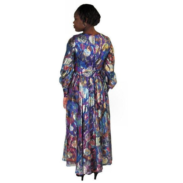 Vintage Metallic Silk Chiffon Designer Gown Hartley Westwood 1970S 34-30-36 1970s - The Best Vintage Clothing  - 3