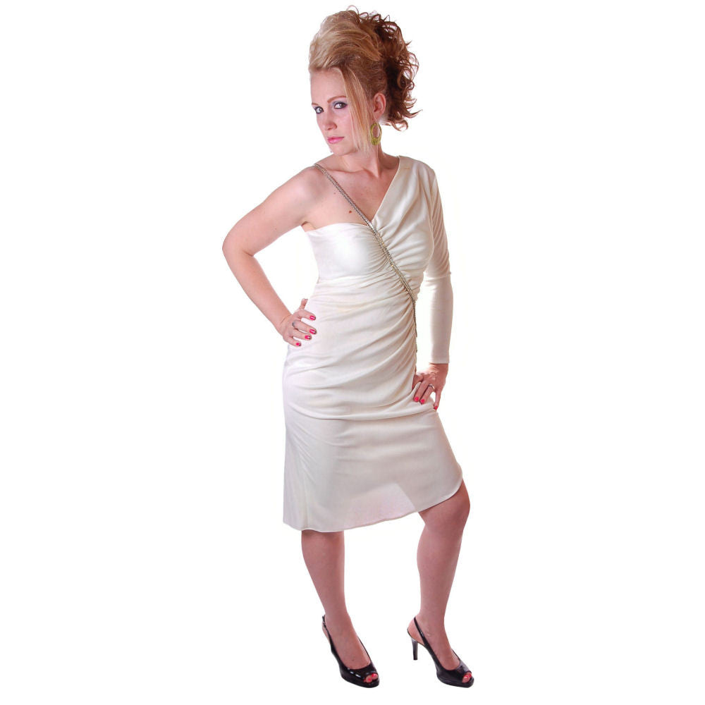Vintage White One-Shoulder Glam Disco Dress 1980'S Medium - The Best Vintage Clothing  - 1