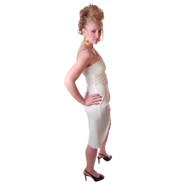 Vintage White One-Shoulder Glam Disco Dress 1980'S Medium - The Best Vintage Clothing  - 3
