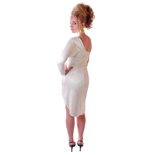 Vintage White One-Shoulder Glam Disco Dress 1980'S Medium - The Best Vintage Clothing  - 2