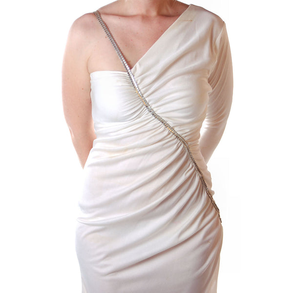 Vintage White One-Shoulder Glam Disco Dress 1980'S Medium - The Best Vintage Clothing  - 5