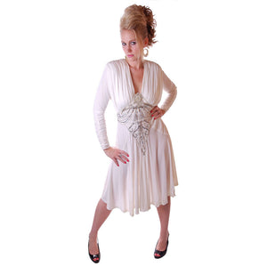 Vintage Glam Dress 1980S White Beaded  NOS Small-Medium - The Best Vintage Clothing  - 1