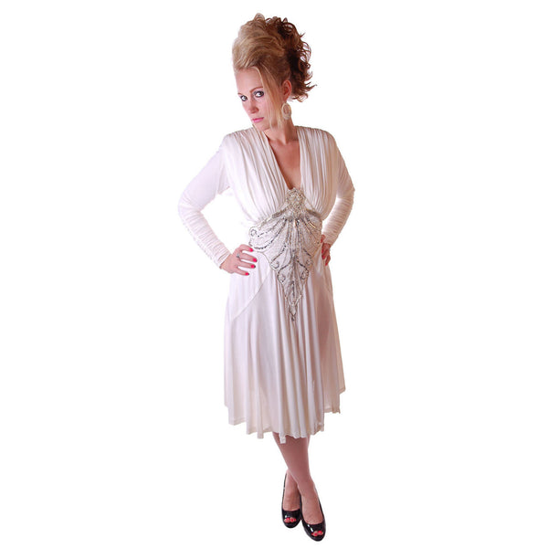 Vintage Glam Dress 1980S White Beaded  NOS Small-Medium - The Best Vintage Clothing  - 3