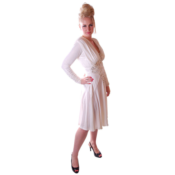Vintage Glam Dress 1980S White Beaded  NOS Small-Medium - The Best Vintage Clothing  - 2