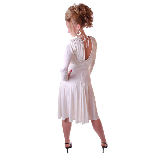 Vintage Glam Dress 1980S White Beaded  NOS Small-Medium - The Best Vintage Clothing  - 5