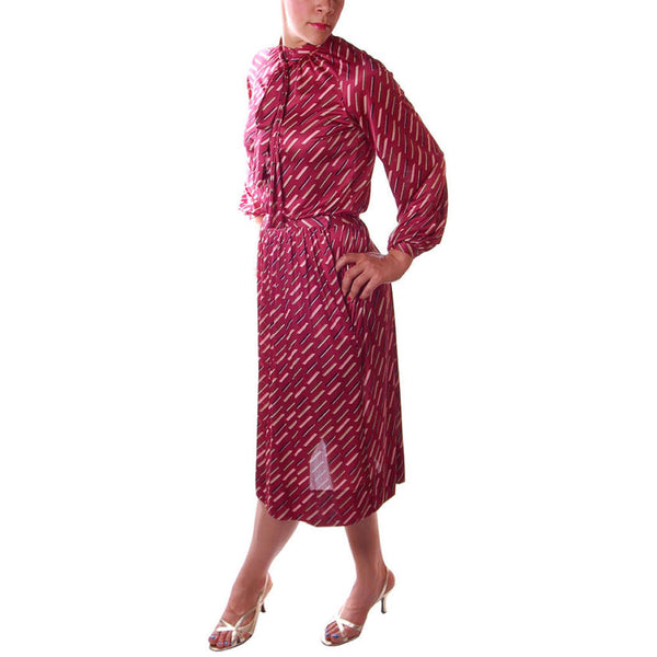 Vintage Halston Skirt and Blouse Set Suit 1980'S Claret Combo Size 8 - The Best Vintage Clothing  - 7
