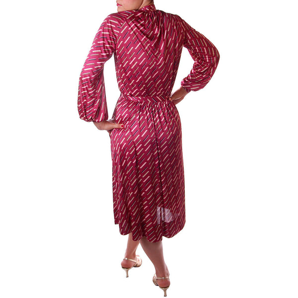 Vintage Halston Skirt and Blouse Set Suit 1980'S Claret Combo Size 8 - The Best Vintage Clothing  - 4